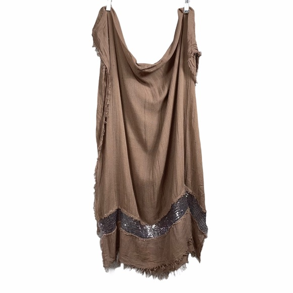 Pashmina cover up scarf Tan silver sequins Women
